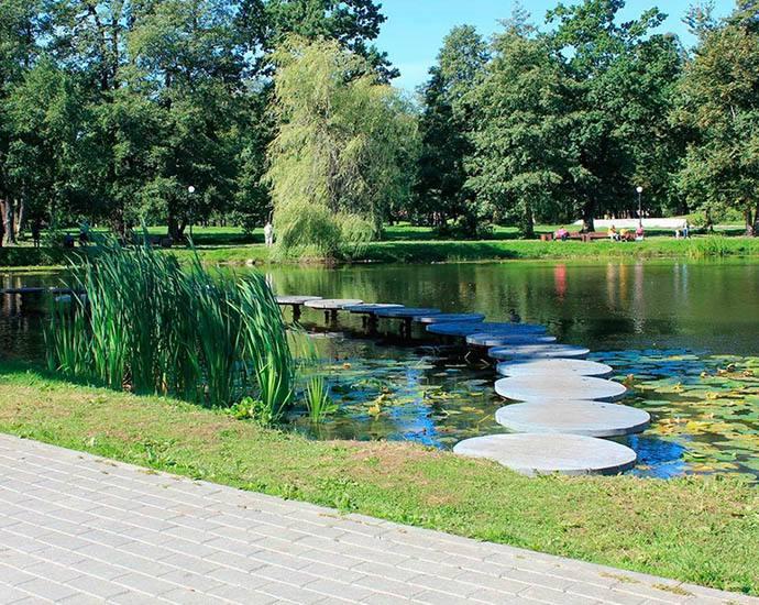 Городской парк и парковый пруд